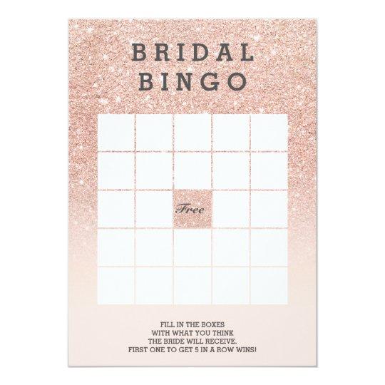 Rose gold faux glitter pink bridal bingo card
