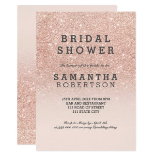Rose gold faux glitter pink bridal shower 13 cm x 18 cm invitation card