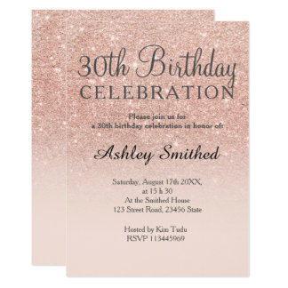 30th birthday invitations announcements zazzle rose gold faux glitter pink ombre 30th birthday card stopboris Image collections