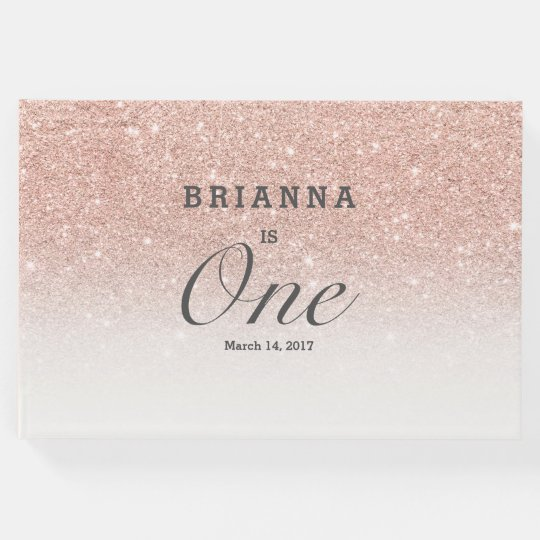 Rose gold faux glitter pink ombre baby One
