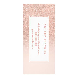 Rose gold faux glitter pink ombre business details full color rack card