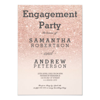 Rose gold faux glitter pink ombre engagement party card