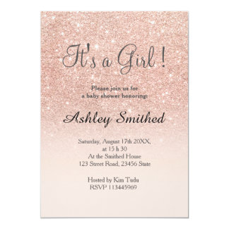 Rose gold faux glitter pink ombre girl baby shower 13 cm x 18 cm invitation card