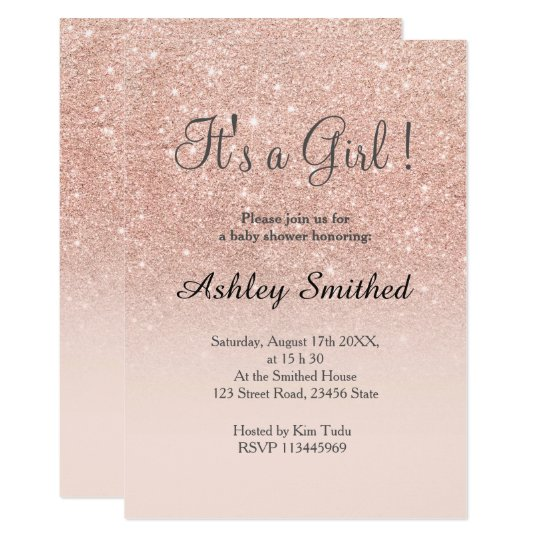 Rose gold faux glitter pink ombre girl baby shower invitation