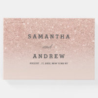 Rose gold faux glitter pink ombre guest wedding guest book