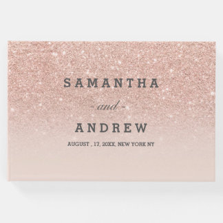 Rose gold faux glitter pink ombre guest wedding 2 guest book