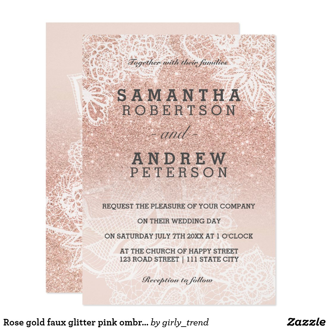 Rose gold faux glitter pink ombre lace wedding