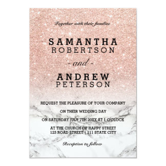 Rose gold faux glitter pink ombre marble wedding card