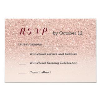 Rose gold faux glitter pink ombre RSVP 9 Cm X 13 Cm Invitation Card