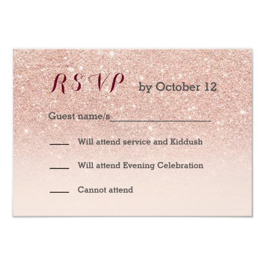 Rose gold faux glitter pink ombre RSVP Card