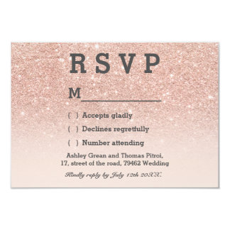 Rose gold faux glitter pink ombre RSVP wedding 9 Cm X 13 Cm Invitation Card
