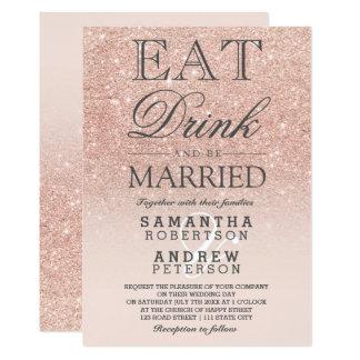 Rose gold faux glitter pink ombre script wedding 13 cm x 18 cm invitation card