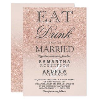 Rose gold faux glitter pink ombre script wedding card