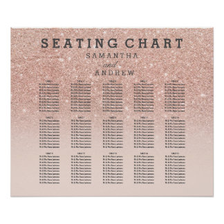 Rose gold faux glitter pink ombre seating chart