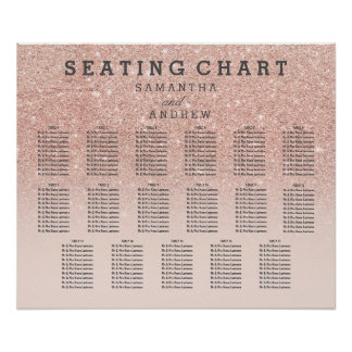 Rose gold faux glitter pink ombre seating chart 17 poster