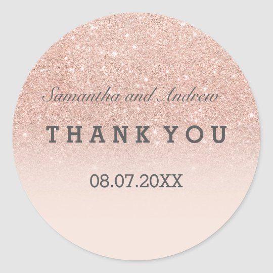 Rose gold faux glitter pink ombre Thank you