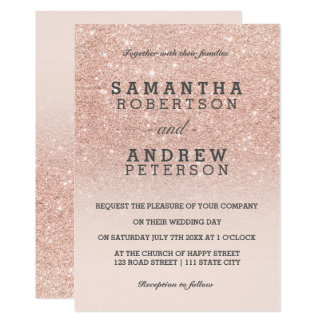 Rose gold faux glitter pink ombre wedding 13 cm x 18 cm invitation card