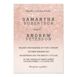 Rose gold faux glitter pink ombre wedding