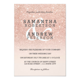 Rose gold faux glitter pink ombre wedding custom card