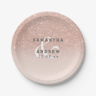 Rose gold faux glitter pink ombre wedding favor paper plate