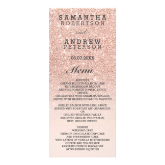 Rose gold faux glitter pink ombre wedding menu custom rack cards