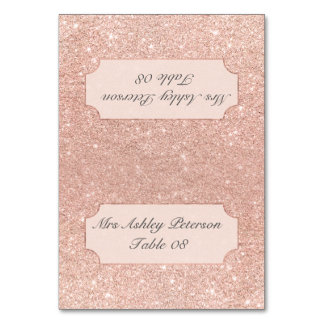 Rose gold faux glitter pink ombre wedding place table cards