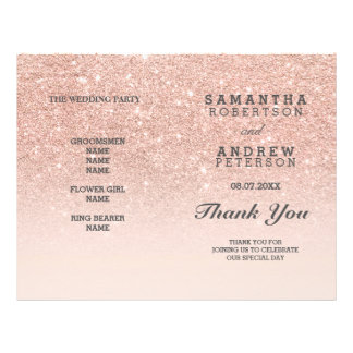 Rose gold faux glitter pink ombre wedding program flyer