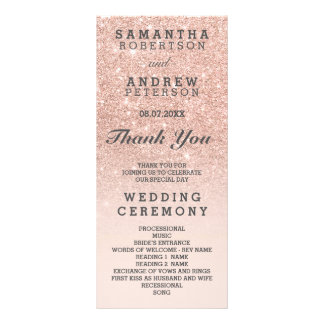 Rose gold faux glitter pink ombre wedding program rack card