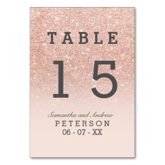 Rose gold faux glitter pink ombre wedding table card