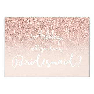 Rose gold faux glitter pink typography bridesmaid 9 cm x 13 cm invitation card