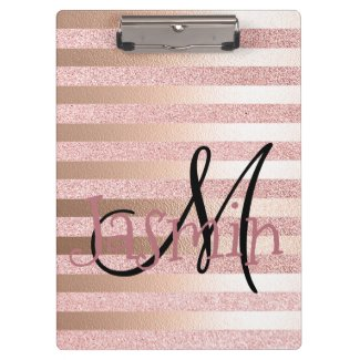 Rose Gold Faux Glitter& Rose Gold Foil Stripes Clipboard