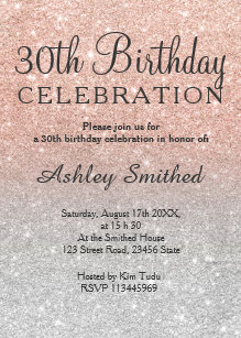 Rose Gold Faux Glitter Silver Ombre 30th Birthday Invitation