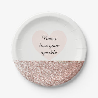 Rose Gold Faux Glitter Sparkle Paper Plate