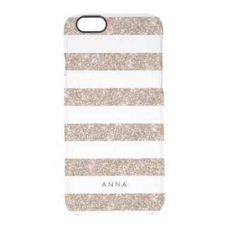 Rose Gold Faux Glitter Stripe Clear iPhone 6/6S Case