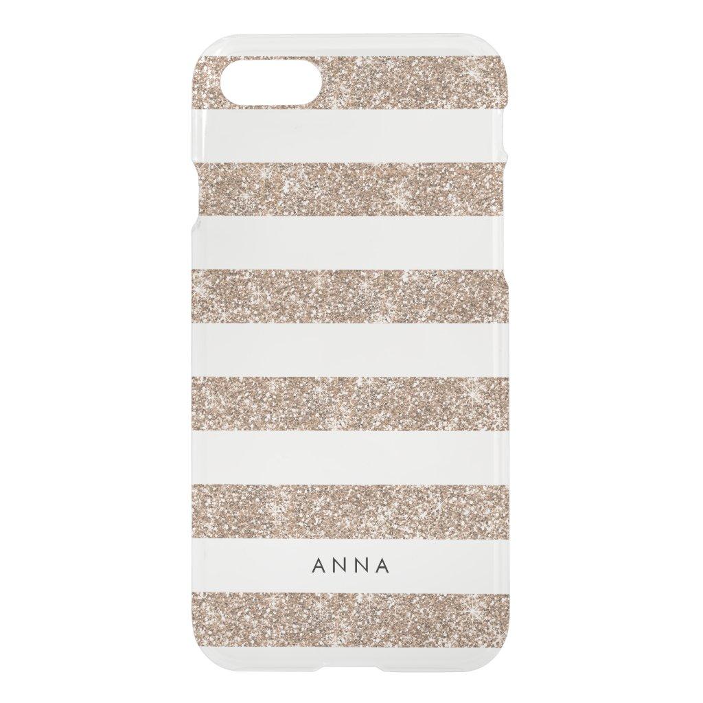 Rose Gold Faux Glitter Stripe