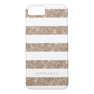 Rose Gold Faux Glitter & White Stripe Personalized iPhone 7 Case