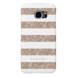 Rose Gold Faux Glitter & White Stripe Personalized Samsung Galaxy S6 Cases