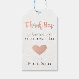 Rose Gold Favour Tag- Wedding Thank You Gift Tags