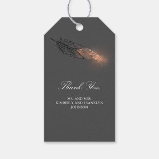 Rose Gold Feather Elegant Wedding Gift Tags