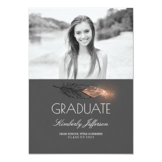 Rose Gold Feather Glitter Photo Graduation Party Card