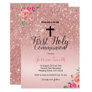Rose Gold First Communion Invitation