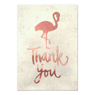 rose gold flamingo thank you silhouette card