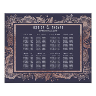 Rose Gold Floral and Navy Blue Seating Chart
