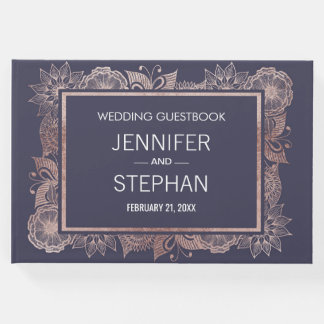 Rose Gold Floral and Navy Blue Wedding Guestbook
