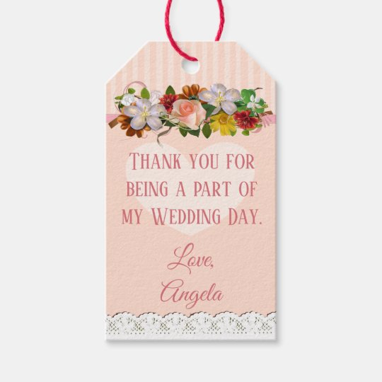 Rose Gold Floral Display Wedding Gift Tag