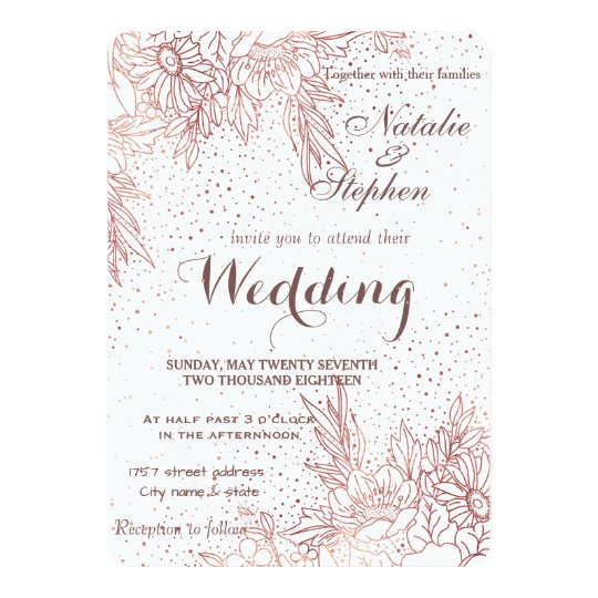 Rose gold floral doodles confetti wedding card
