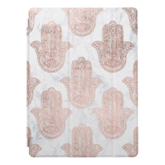 Rose gold floral lace hamsa hand white marble iPad pro cover