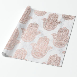 Rose gold floral lace hamsa hand white marble wrapping paper