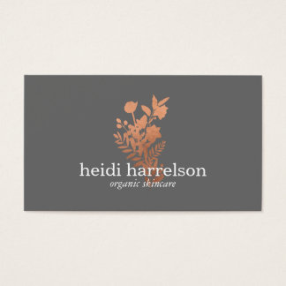 Rose Gold Floral Logo on Gray Business Card