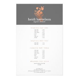 Rose Gold Floral Logo on Gray Salon Price List Flyer